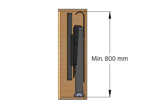 Minimum height cabinet